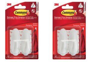2 x Command White Medium Oval Hooks - Pack of 2   NEW