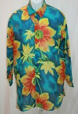 Endless Summer Mens One Size Bright Floral Sheer Long Sleeve Button Front Shirt