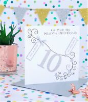 Personalised Handmade Tin 10th Wedding Anniversary Card