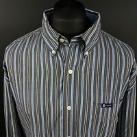 CHAPS Mens Vintage Shirt 2XL Long Sleeve Grey Regular Fit Striped Cotton