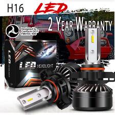 5202 H16 LED Headlight Bulbs For Jeep Wrangler JL 2017 2018 2019 6000K Pair