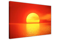RED SUNSET ON SEA LANDSCAPE CANVAS WALL ART PRINTS PICTURES HOME DECORATION