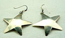 """Sterling Silver / Star / Dangling Hook Earrings / 1.5""""(5.1g)"""
