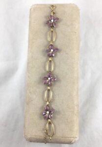 """Wells 14Kt Gold Filled Violet Enamel w/Pearls Bracelet- 6 1/2"""""""