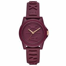 NIB Armani Exchange AX4367 Quartz Burgandy Silicone Strap Watch