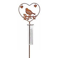 Regenmesser Herz Metall Glas Gartenstecker Gartendeko mit Vogel