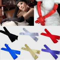 Women's Stretch Satin Long Sleeve Gloves Wedding Bridal Opera Party Costume