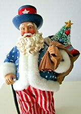 """Clothique 4Th Of July Santa Sewing American Flag 9"""" Tall 2002 Ex Cond 1999"""