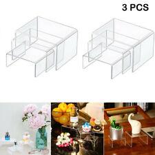 3PCS Clear Acrylic Display Risers Jewelry Display Riser Shelf Showcase CA