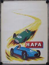 AFFICHE originale HUILE HAFA automobile Formule 1 BOUQUET AUCH poster oil can