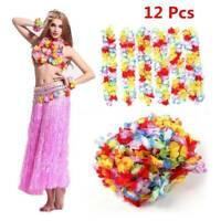 12pcs Hawaii Artificial Flower Necklace Garland Wreath Summer Beach Party Decor
