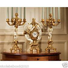 ORNATE Baroque Mantel Clock & Candelabra - CHERUBS HARVEST COLECTIBLE DECOR