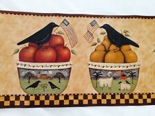 Primitive Country Kitchen Border With Bowls, Crows, Cows, Sheep, Fruit & Apples