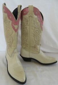 Laredo White & Pink Leather Cowboy Boots Size 8M