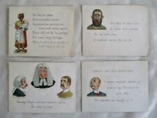 4 Antique Humorous Messages, Anti-Valetines! Applied Die Cuts, C.1900