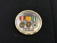 Gold Tone Black Vietnam Veteran Challenge Coin USN United States Navy Military