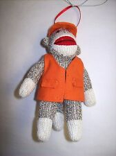 """(Hunter in Orange) Sock Monkey Style Fabric Ornament - """"Monkeez by Midwest"""""""