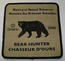 2006 ONTARIO MNR BEAR HUNTING PATCH moose,deer,elk,hunter,canadian,patches,badge