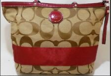 Coach Signature Fabric Jacquard Stripe Tote Bag Brown Beige HandBag F17433 Clean