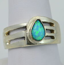 Handmade Vintage 925 Sterling Silver Ring Size 7.75 with Genuine Blue Opal