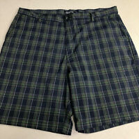 Chaps Golf 78 Shorts Mens 40 Blue Green Flat Front Plaid Stretch Slash Pockets