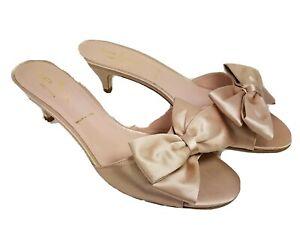 Kate Spade women slide sandals shoes blush satin kitten heel Plaza bow 6