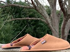 MUKLUKS Cow Hide Suede Slippers Loafers Flannel Lined Womens Shoes Sz 12 👣b14