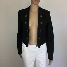 Ben Sherman Black Bolero Jacket Size S Lined Button Cotton Elastane (BE17)