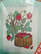 Crewel Embroidery Kit ~ Strawberry Plant+ Basket Picture VOGART Crafts #411h5176