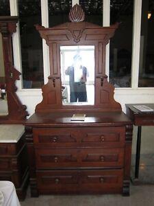 Antique Victorian Oak Dresser With Mirror