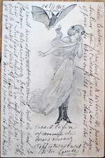 Woman & Vampire Bat Engraved 1905 Postcard - Berlin, Germany