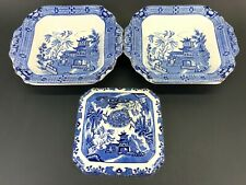 2 Burleigh Ware Willow Square Serving Bowls & 1 Lid Blue With Gilded Edging