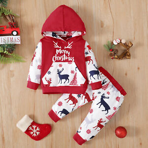 Toddler Baby Kids Girls Boys Christmas Elk Hooded Pullover Tops Pants Outfits