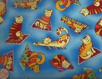 Happy cats orange blue Timeless Treasures fabric