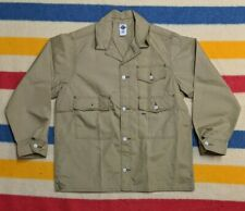 NEW Post Overalls O'All's USA Nylon Button Up Beige Utility Chore Jacket L