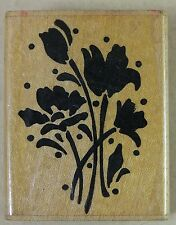 """STAMPENDOUS Rubber Stamp WALLFOWERS E26 Flower Group Silhouette 1989 1.25 x 2"""""""