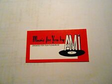 "AMI CONTINENTAL JUKEBOX & OTHER AMI MODELS ""OPERATOR CARD"" RED"