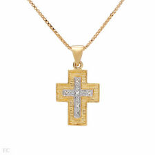 Cross Necklace W/Genuine Diamond in14K/925 Gold plated