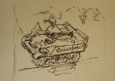 Dessin Charles Kiffer ( 1902-1992 ) Scène guerre char WWII vers 1940 cachet 5