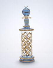 Egyptian Perfume Bottle - Premium Blown Glass - Blue - Hand Painted  4-529-31