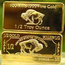 1/2 Troy Ounce 100 mills .999 Fine Gold Buffalo Bar. Lot 46