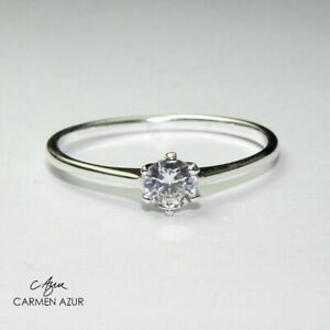 925 Sterling Silver Solitaire Ring CZ Slim Size K1/2,L1/2,N1/2,P1/2 inc Gift Bag
