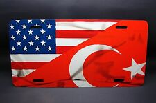 TURKISH AMERICAN FLAG  METAL CAR LICENSE PLATE FOR CARS