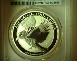 2018P Australia S1$ PCGS MS70 Kookaburra 1 oz .9999 Silver Early Issue Holder -