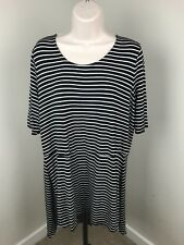 Soma Tunic Top Striped Black and White Lounge XL Stretch Rayon
