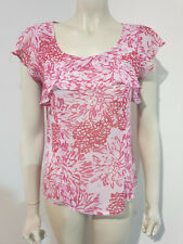 Basque Short Sleeve Chiffon Floral Career Blouse Size 10