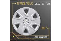 """LOT DE 4 ENJOLIVEURS 15"""" POUR RENAULT CLIO IV 2010 5753/5LC"""