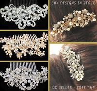 BRIDAL WEDDING HAIR COMB GOLD SILVER DIAMANTE CRYSTAL PEARL HAIR COMBS CLIP