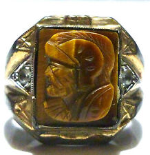 ART DECO MENS STERLING SILVER 10K GOLD INTAGLIO WARRIOR SHIELD RING SIZE 7.5