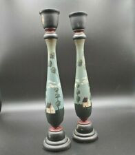 "Wood Candlesticks Primitive Farmhouse Rustic Country 11"" - A"